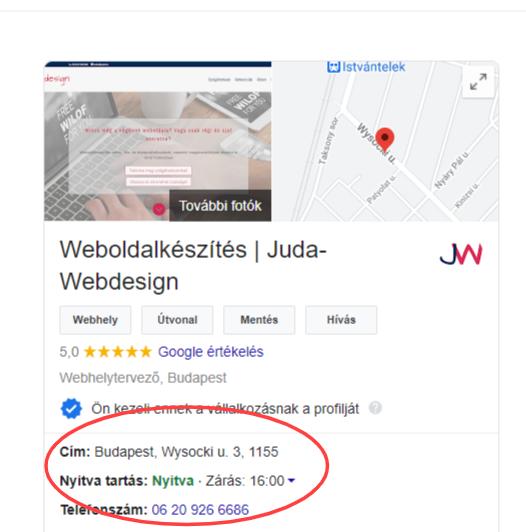 Juda-Webdesign Google keresési találat